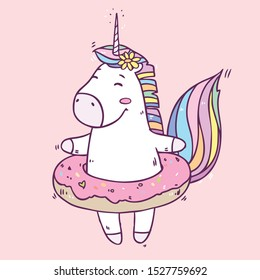 Vector illustration with cute cartoon happy unicorn in tasty donut rubber ring