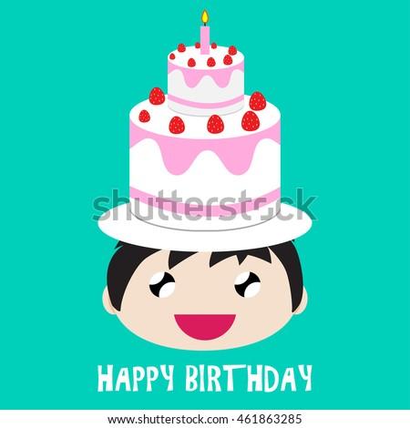 Vector Illustration Of Cute Cartoon Kid Character Design And Happy Birthday Cake