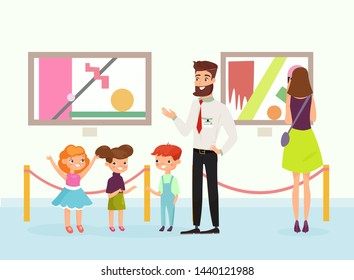 Vector illustration of cute cartoon kids in art gallery, looking on the pictures, listening guide in art museum. People admire paintings gallery. Flat style.