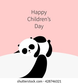 Vector Illustration: A cute cartoon little panda is lying on the belly of his father / mother, his father / mother is holding him in his / her arms, for Happy International Children's Day.