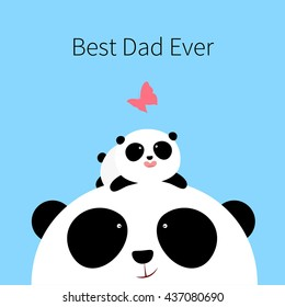 Vector Illustration: A cute cartoon little panda is lying on the head of his father, looking at a butterfly, for Happy Father's Day.