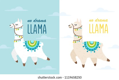 Vector Illustration of cute cartoon llama and alpaca with clouds. Childish print for fabric, t-shirt, poster, cards, invitations, cases, patch and stickers. Llama isolated on blue background.