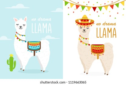 Vector Illustration of cute cartoon llama alpaca with clouds, cactuses, saddlery, sombrero fiesta hat. Childish print for fabric, t-shirt, poster, cards, invitations, cases, pattern, patch and sticker