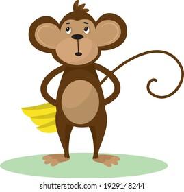 Vector illustration of a cute cartoon monkey with banana