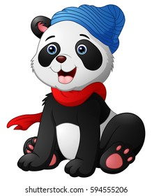 Vector illustration of Cute cartoon panda sitting wearing a red scarf and a blue hat