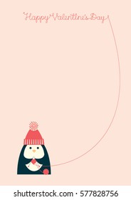 """Vector illustration of a cute cartoon penguin knitting heart shape. Text """"Happy Valentines day"""" written with the yarn. Vertical A4 format. Free place for text on a light pink background."""