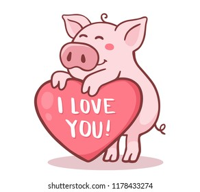 Vector illustration of cute cartoon pig with pink large heart and text i love you. Hand drawn line art style design of symbol of the new year 2019 for web, site, greeting card, valentine day poster