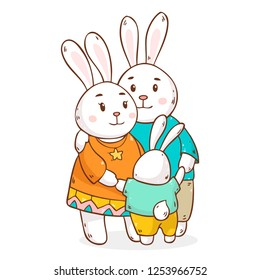 Vector illustration with cute cartoon rabbits family hugging each other isolated on white background