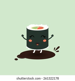 Vector illustration of a cute cartoon roll, suchi. Japanese food. Eps 10
