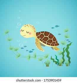 Vector illustration of a cute cartoon sea turtle swimming in the deep blue ocean.
