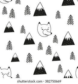 Vector illustration with cute cartoon seamless pattern. Wolf head, pine trees and mountains. Black and white doodle style print design, childish ink background