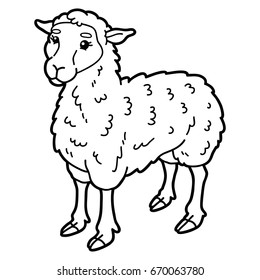 Vector Illustration Of Cute Cartoon Sheep Character For Children Coloring Page