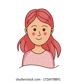 Vector illustration of a cute cartoon smiling girl, a child with pink hair. Picture for print on a t-shirt, design of children's products, cards. Isolated on a white background.