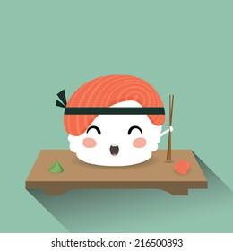 Vector illustration of a cute cartoon sushi. Japanese food. Nigiri sush. Eps 10