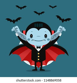 Vector illustration, Cute cartoon tiny Dracula smiling