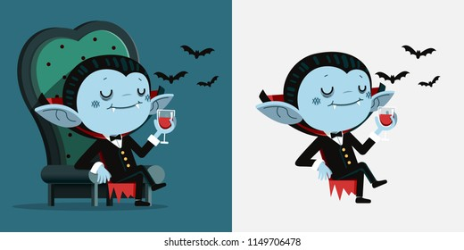 Vector Illustration, Cute cartoon tiny Dracula sit in a chair and drink blood