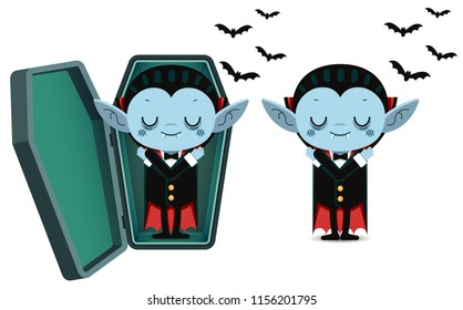 Vector illustration, Cute cartoon tiny vampire Dracula sleep in coffin