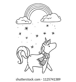 Vector illustration with cute cartoon unicorn in winter scarf under snowy clouds with cold rainbow on white background