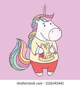 Vector illustration with cute cartoon unicorn eating tasty pizza isolated on background