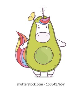 Vector illustration with cute cartoon unicorn in avocado costume  isolated on background