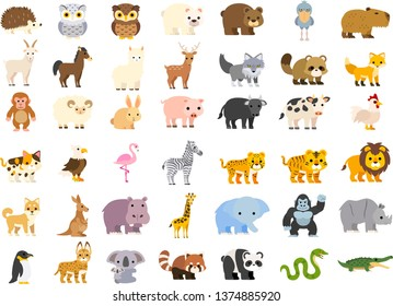 Vector illustration of cute cartoon zoo animals set: crocodile bear panda raccoon koala penguin rhino gorilla elephant giraffe hippo dog lion tiger cat cow pig rabbit sheep fox monkey wolf hedgehog