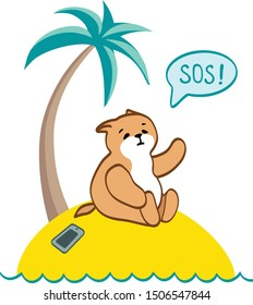 Vector illustration of a cute cat get stuck on island. Concept of life without mobile connection. Hope. Life. Friendship. Lost in an ocean. Need friends. Help center. SOS - Vector