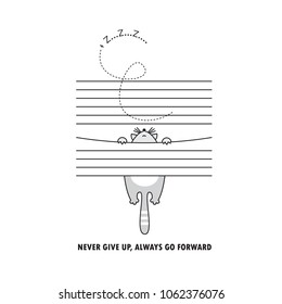 vector illustration cute cat hanging on shutters, funny print on t-shirt or postcard