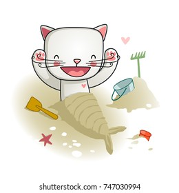 Vector Illustration of a Cute Cat. A Cat on a Beach