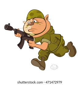 Vector Illustration of a Cute Cat Special Forces Cartoon Character
