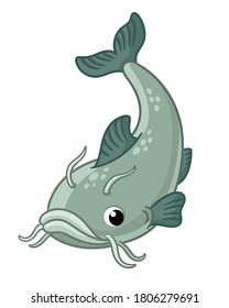 Vector illustration with cute catfish on a white background. Picture with a fish in a children's cartoon style.