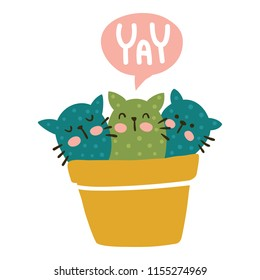 vector illustration, cute cats in a pot and yay hand lettering text