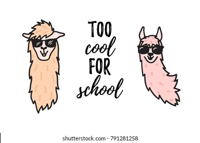 Vector illustration of cute character lama in glasses with lettering. Isolated outline cartoon baby llama hipster. Hand drawn fashion Peru animal guanaco, alpaca, vicuna. Drawing for print, fabric