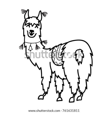 vector illustration cute character south america stock vector All Breeds of Spaniels vector illustration of cute character south america lama with decorations isolated outline cartoon baby llama