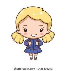 Vector illustration of cute chibi character isolated on white background.  Young school girl in uniform.