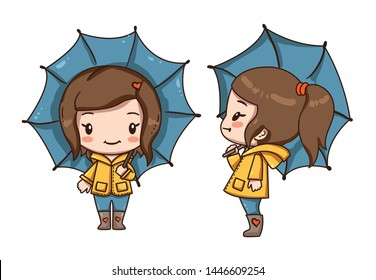 Vector illustration of cute chibi character isolated on white background. Cartoon little girl with umbrella. Front view and side view girl.