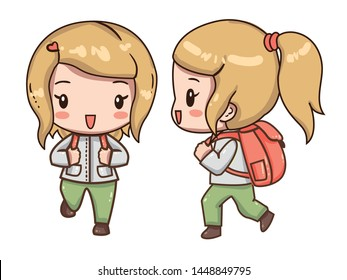 Vector illustration of cute chibi character isolated on white background.  The girl traveler with a backpack in clothes for hiking. Front view, side and back view.