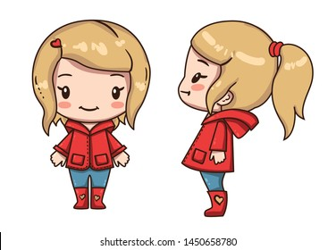 Vector illustration of cute chibi character  isolated on white background.  Cartoon little girl with ponytail. Various turn of young girl. Front view and side view.