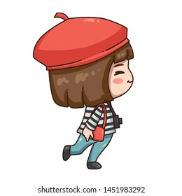 Vector illustration of cute chibi character isolated on white background. The girl traveler in red beret with camera.
