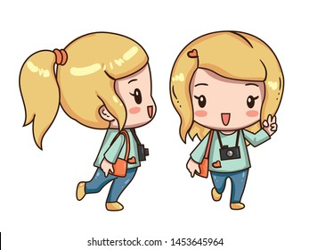 Vector illustration of cute chibi character isolated on white background. The girl traveler with camera.