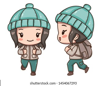 Vector illustration of cute chibi character isolated on white background.  The traveler with a backpack in clothes for hiking. Front view, side and back view.