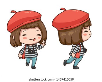 Vector illustration of cute chibi character isolated on white background. The girl traveler in red beret with camera. Front view and side view.
