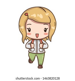 Vector illustration of cute chibi character isolated on white background.  The girl traveler with a backpack in clothes for hiking.