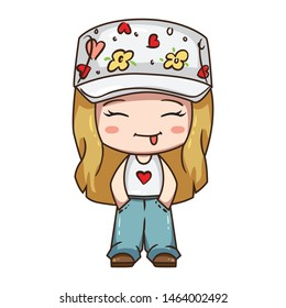 Vector illustration of cute chibi character. Cartoon girl in blue jeans, white t-shirt and hat with flower print.