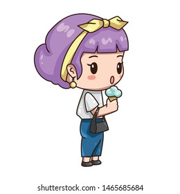 Vector illustration of cute chibi character isolated on white background. Cartoon girl eat ice cream. Fifties retro style of clothes. Girl in blue pants_white blouse and yellow headscarf.