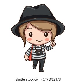 Vector illustration of cute chibi character isolated on white background. The girl traveler in black hat with camera.