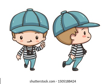Vector illustration of cute chibi character isolated on white background. The boy traveler in red beret with camera. Front view and side view.