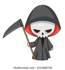Vector illustration of cute chibi character isolated on white background. Cartoon Death with scythe.