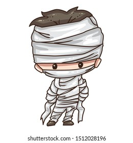 Vector illustration of cute chibi character isolated on white background. Cartoon boy in mummy costume for Halloween party.