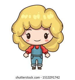Vector illustration of cute chibi character  isolated on white background. Cartoon little girl in denim overalls.