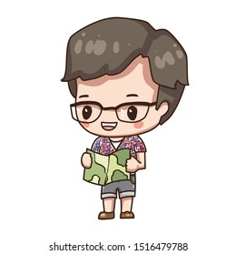Vector illustration of cute chibi character isolated on white background.  Cartoon tourist with map.